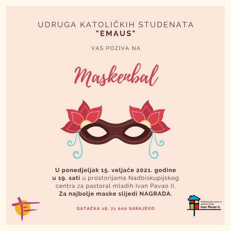 """NAJAVA: Maskenbal u organizaciji Udruge katoličkih studenata """"Emaus"""""""